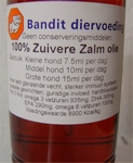Bandit 100% zuivere Zalmolie,glazen fles + pomp 500ml